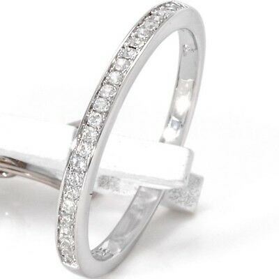NEW White Gold Over Sterling Silver 7 Row Eternity Square Women/'s Band Size 5-9