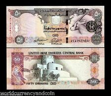 UNITED ARAB EMIRATES 50 DIRHAMS 2014 2015 ORYX SPAROW UNC BILL UAE CURRENCY NOTE