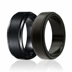2-Pack-Silicone-Rubber-Wedding-Ring-and-Tungsten-Band-In-One-Set-Step-Edges