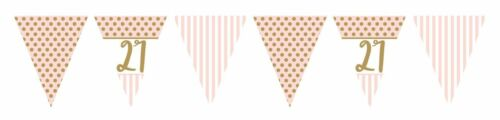 12ft GOLD /& PINK CHIC 21st METALLIC FLAG BUNTING 21 BIRTHDAY PARTY ADULTS GIRLS