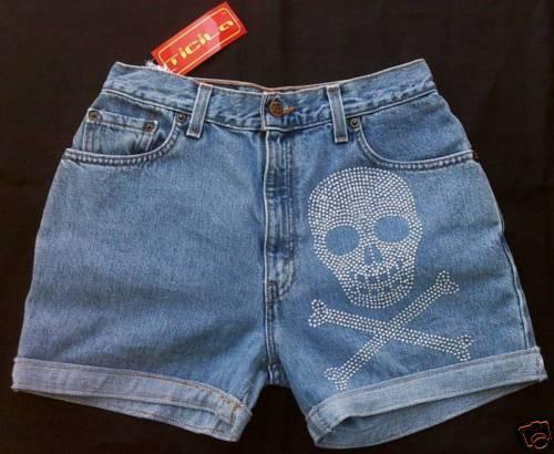 Ticila Jeans Hot Pant Short STRASS SKULL VIP Edition w27 d:36 S PEZZO UNICO