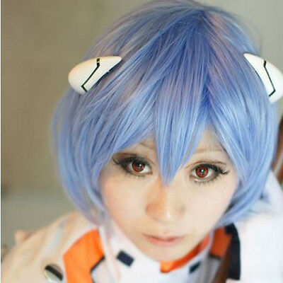 Neon Genesis Evangelion AYANAMI REI Short Blue Cosplay Wig Costume Straight Hair