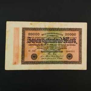 German World War Period 1923 20000 Mark Reichsbanknote VF