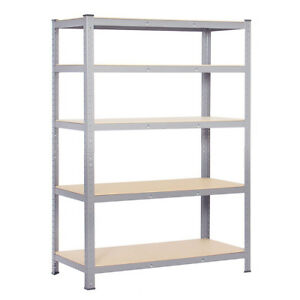 Details About 180cm 5 Tier Boltless Galvanized Shelving Unit In Silver For Garage Shed Office