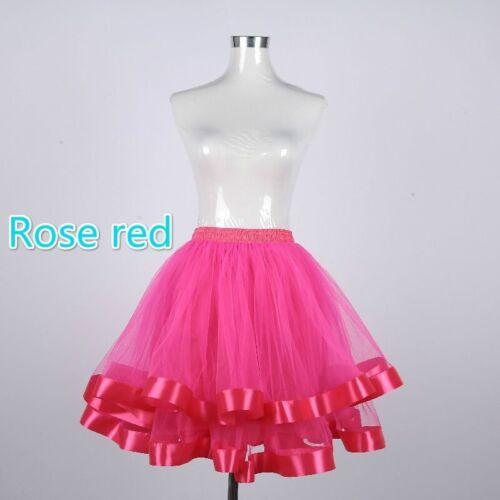 Women Girls Lolita Petticoat Crinoline Underskirt Mesh Tutu Skirt Hippy Cosplay