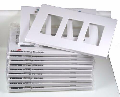 Cooper PJS263W Decorator Screwless Wallplate 3 Gang White 5 Pack Eaton