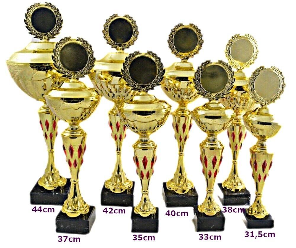 Pokal 1900 8er Serie oder Einzeln mit 50mm Emblem und und und Beschriftung Gold rot d7c9f0