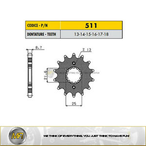 Sunstar 51915 15-Teeth 530 Chain Size Front Countershaft Sprocket