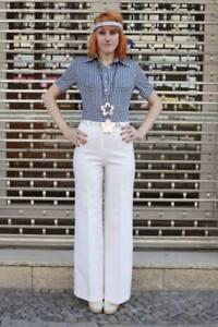 Bleu Ann Body Blanc Pepitamuster de corps Top Mona RwCIf0