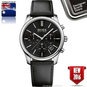 New-Hugo-Boss-Mens-Time-One-Watch-Silver-Tone-Black-Dial-Leather-Chrono-1513430