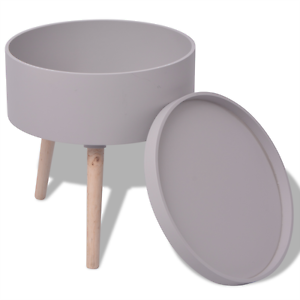 Image Is Loading Grey Side Table Serving Tray Round Living Room