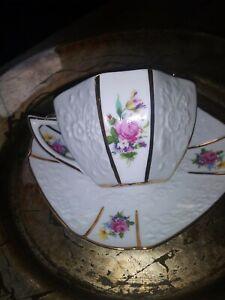 Beautiful-Octagonal-White-amp-Flower-Tea-Cup-And-Saucer-EUC