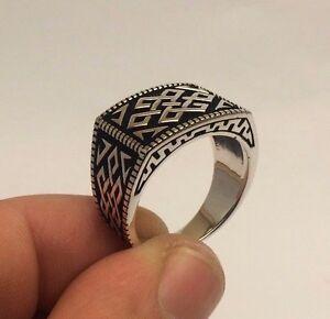 Turkish-Ottoman-Jewelry-Seljuq-Motif-925K-Sterling-Silver-Men-039-s-Ring