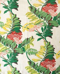 True-Vintage-Deco-Tropical-Print-Orchid-Barkcloth-Curtains-Drapes-4-Panels