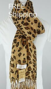 DG-Pashmina-Scarf-Shawl-Black-Brown-Cheetah-Leopard-Print-Silk-Cashmere-Soft