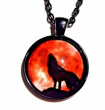 HOWLING WOLF BLOOD MOON PENDANT black red glass cab necklace werewolf coyote 1G