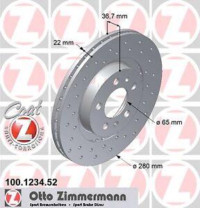 Jeu-2-Disques-de-frein-SPORT-COAT-Z-ZIMMERMANN-SEAT-TOLEDO-II-1-9-TDI-130CH
