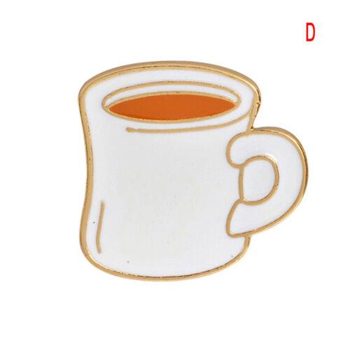Enamel Tea Cup Piercing Brooch Pins Shirt Collar Pin Breastpin Jewelry Gift ZP