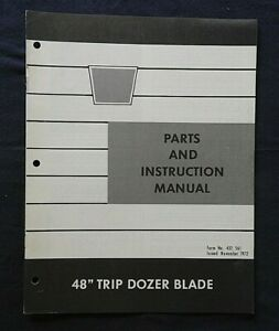 """1973 OLIVER 75 105 125 145 LAWN TRACTOR """"48"""" TRIP BLADE"""" PARTS & OWNERS MANUAL"""
