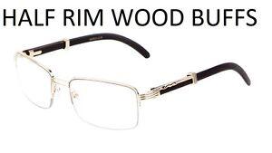 7aac468da3 1 2 Rim Semi Rimless Rectangle Wood Buffs Unisex clear glasses Gold ...