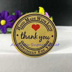 Rond Papier merci Hand Made With Love Étiquettes Autocollants CADEAU Nourriture Craft Box