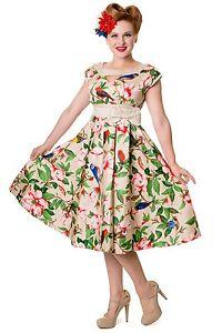 femmes-Tropical-Floral-vintage-oiseaux-noeud-SWING-retro-rockabilly-evase-Robe