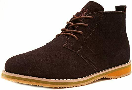 Bartium Mens Gents Classic Suede Leather Brown Chukka Chelsea Lace Up Ankle Boot