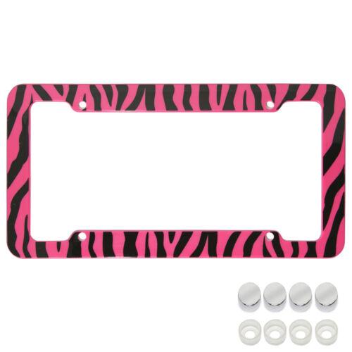 UAA® 1 ZEBRA PRINT Pink//Black car truck Plastic License Plate Frame /& Screw Caps