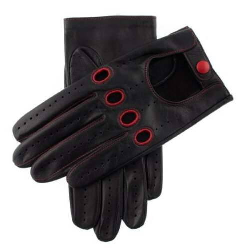 Dents Croft Men's Leather Driving Gloves Contrast Stitch Red BLACK