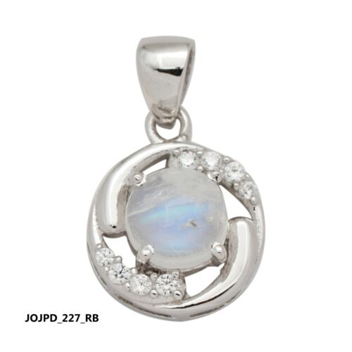 925 Sterling Silver American Diamond Natural Gemstone Round Pendant Jewelry