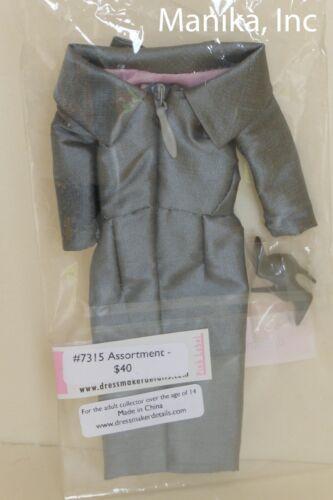 Dressmaker Details Grey Collared Dress 7351A for 12-inch Fashion Dolls New NRFP