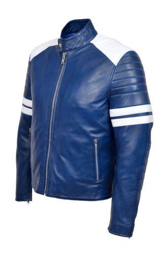 de de hombre cuero Chaqueta blanda de Blue Style Race Style piel Mayhem cordero New Biker para qHFzy