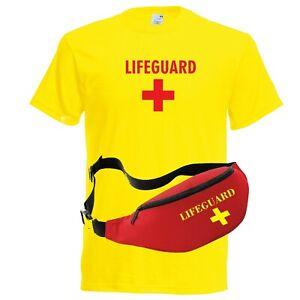 Details about Womens 'Lifeguard +' Costume Fancy Dress Set: Ladies T Shirt, & Fanny Bum Bag