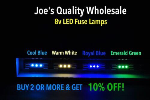(6)COOL BLUE LED FUSE LAMPS 8V-DIAL VINTAGE 2275 4420 2325 SX-1010/RECEIVER 9090