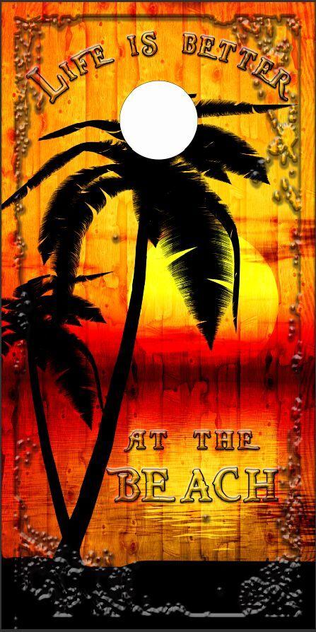 Beach Palm Tree Sunset LAMINATED Cornhole Wrap Bag Toss Skin Decal