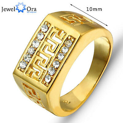 Size O,Q,S Unisex Vintage Real Gold Looking Ring 18K Gold Plated Rings