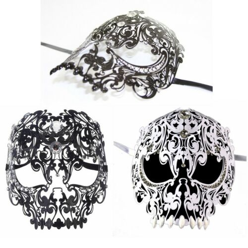 White Luxury Elegant Metal Laser Cut Venetian Halloween Masquerade Mask