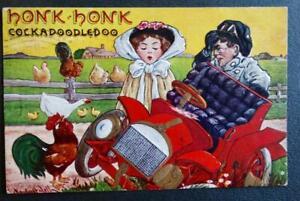 Postcard-Artist-Signed-Bernhardt-Wall-Honk-Honk-Cockadoodledoo-Brass-Car