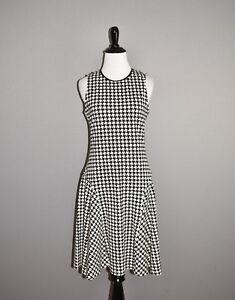LAUREN-RALPH-LAUREN-125-Black-White-Houndstooth-Fit-amp-Flare-Dress-Small