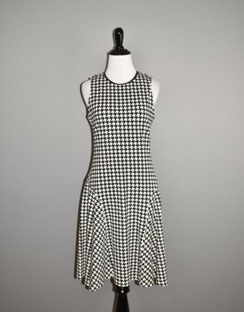 LAUREN RALPH LAUREN $125 Black White Houndstooth Fit & Flare Dress Small