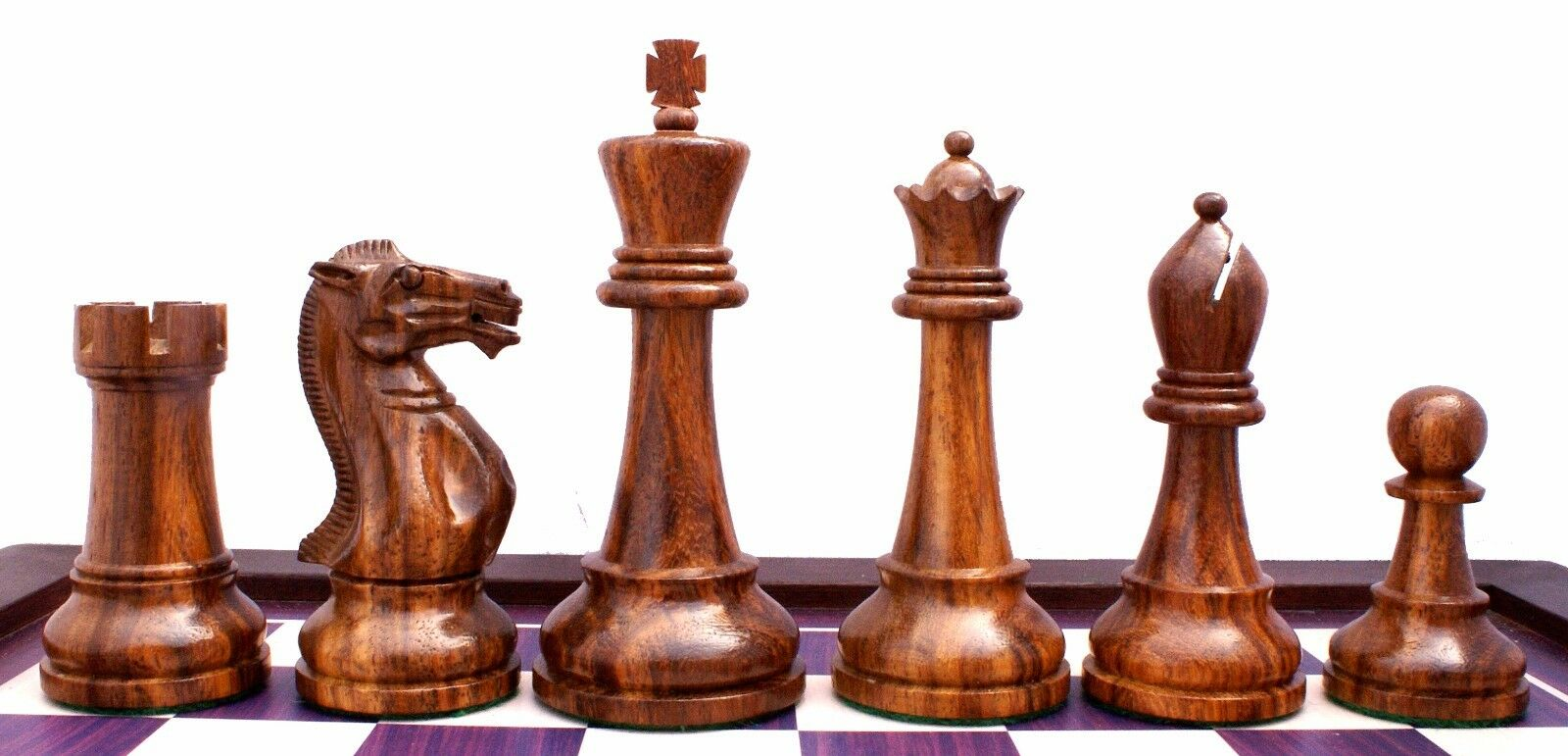 Verona Series Premium Staunton 4  Chess Pieces in oroen rosa Wood & Box Wood