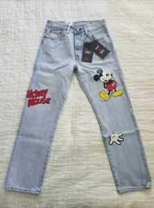 8ff403e3 Details about NEW WOMEN'S LEVI'S DISNEY MICKEY MOUSE 501 ORIGINAL CROPPED  JEANS
