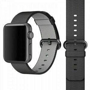 Genuino Reloj Banda De Nylon Tejido Apple 42mm/44mm Negro/Gris espacial-MM9Y2AM/A
