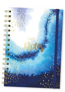 A5-Lomo-en-Espiral-Marmol-Azul-Y-Oro-Oceano-Diseno-Cuaderno-Diario-Libreta-Opnp