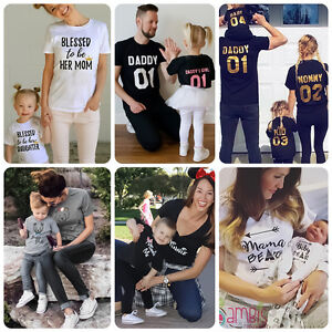 92326203 Family Matching Outfits T-shirt Father Daughter Daddy Mommy Kid Baby ...
