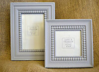 Grey Beaded Antiqued Distressed Photo Frame Square Rectangle Vintage