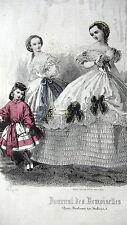 GRAVURE MODE ANCIENNE 19e - JOURNAL DES DEMOISELLES - JANVIER 1861