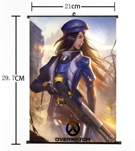 "Hot Anime Blizzard Game Overwatch Ana Amari Home Decor Wall Scroll 8/""×12/"" 01"