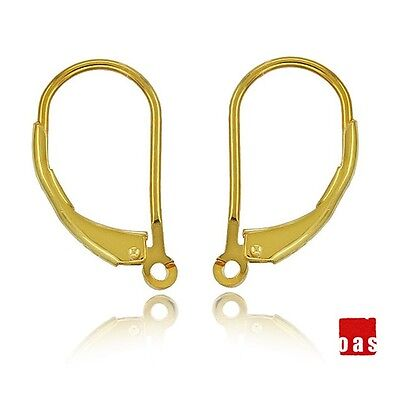 18k SOLID GOLD EARRINGS LEVER BACK HOOK 1 PAIR WITH OPEN RING FINDINGS