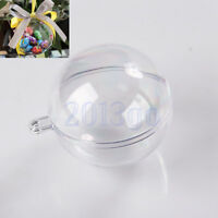 10pcs 5 Ball Christmas Baubles Clear Fillable Xmas Tree Decoration Ornaments CG